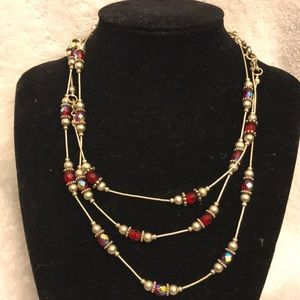 Silver and red bead necklaces